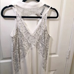 Boutique High Neck Lace Front Swing Dress